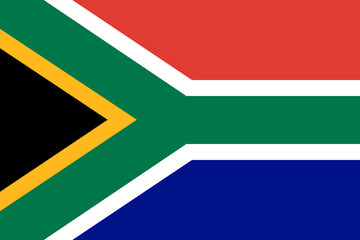 Republic of South Africa flag. Official colors. Correct proportion. Vector
