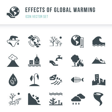 Set of global warming icons. Natural disasters caused by climate change. Effects of global warming icon vector set in flat style isolated on white background.