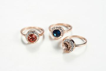 Gemstone ring white background