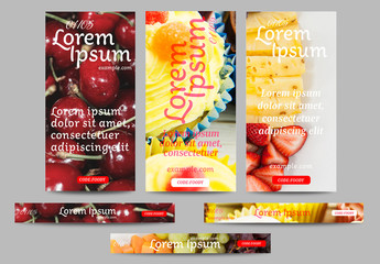 Web Banner Layouts with Food Images