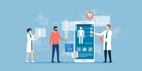 Obraz Doctors examining a patient using a medical app - fototapety do salonu