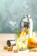 Summer drinks, thyme pear cocktails