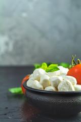 Rustic style. Ingredients for italian caprese salad.