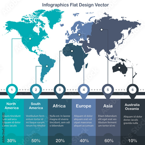 Infographics World maps of continents blue green colors on ...