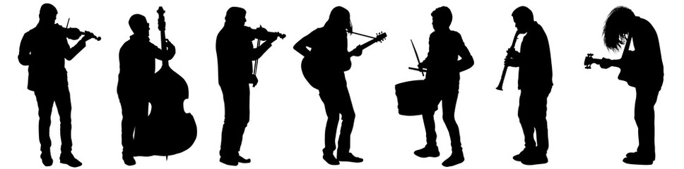 Silhouettes of street musicians playing instruments Wall mural