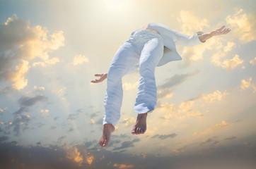 Soul Ascension. Ghost of a man taken up into heaven. Afterlife,   meditation and dream concept 3d render