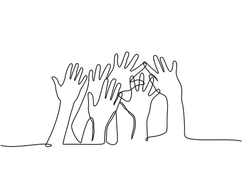 continuous line drawing. Multiethnic men and women raising hands isolated on white background