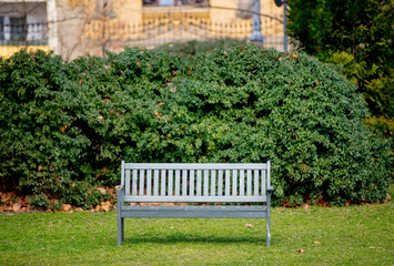 Bench in French style in a park.