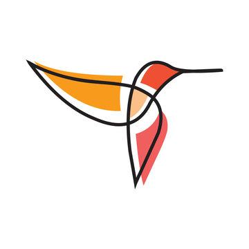 hummingbird logo design line art