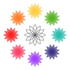 Lotus flower colorful illustration. Vector icon illustration. Chakra colors.