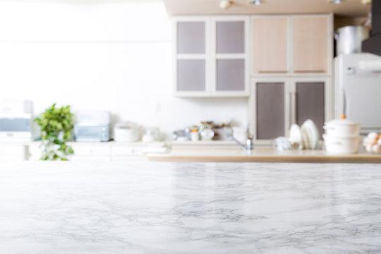 キッチン背景 大理石のテーブル