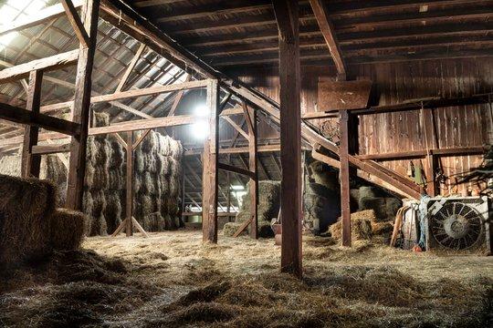 Barn Interior Wooden Light Beams Hay Bales Rustic