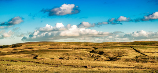 South pennines fields and moorland at summer