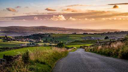 Countryside road at South Pennines on summer