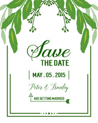 Wall Murals Retro sign Vector illustration invitation card wedding with green leafy flower frame