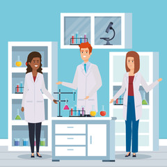 man and women chemists with erlenmeyer flask