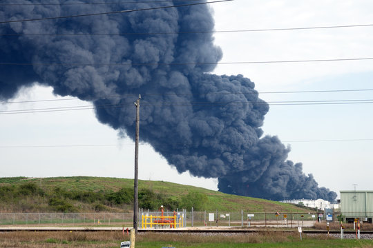 HOUSTON — A fire at a Houston-area petroch Petrochemical Fire. A plume of smoke rises from a petrochemical fire at the Intercontinental Terminals Company, in Deer Park, Houston, Texas, USA