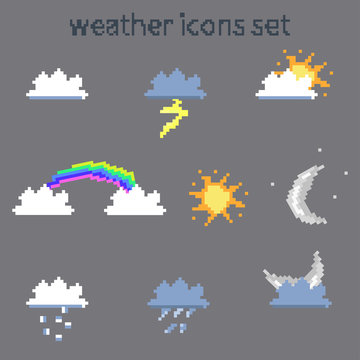 pixel weather icons set on gray background vector image
