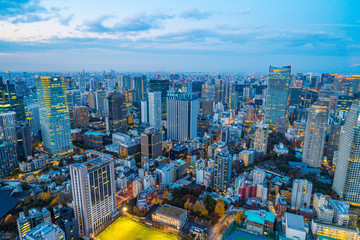 Fototapete - city skyline aerial night view in Tokyo, Japan