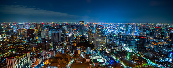 Fototapete - city skyline aerial night view in Tokyo, Japan