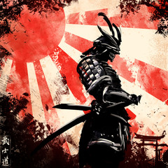 """A samurai stands holding his hand on a katana, behind a red sunset,the inscription means in Japanese """"the way of the warrior"""""""