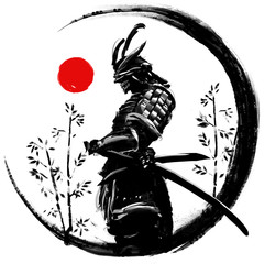 Illustration of a Japanese warrior in an ink circle with a red sun