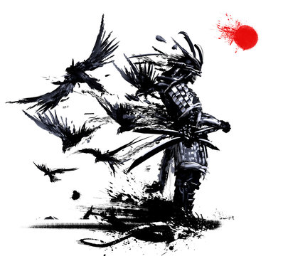 Samurai stands against a white sky with a red sun, from his back flies a flock of crows