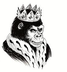 gorilla, ape, king, emperor, animal, crown, royal, art, artwork, illustration, drawing, sketch, ink, black, white