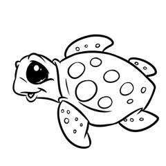 Turtle sea animal character coloring page cartoon illustration isolated image