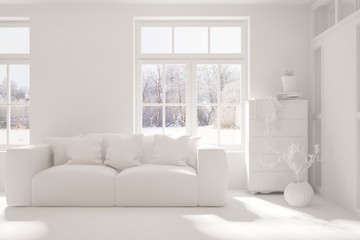 White stylish minimalist room in grey color with sofa and winter landscape in window. Scandinavian interior design. 3D illustration