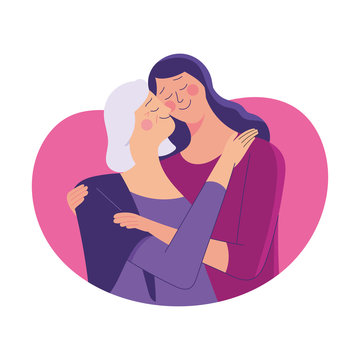 young woman hug her old mother with love, mother and daughter love as family, mother's day concept media