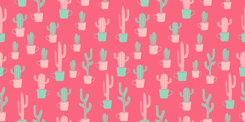 Cactus trendy seamless pattern vector illustration on pink background