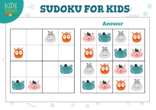 Sudoku for kids with answer vector illustration