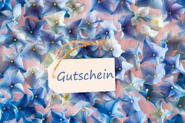 Hydrangea Flat Lay, Gutschein Means Voucher, Blossom Texture