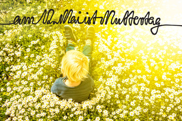 Blonde Child, Daisy, Calligraphy Muttertag Means Happy Mothers Day