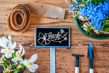 Spring Flowers, Sign, Calligraphy Danke Means Thank You