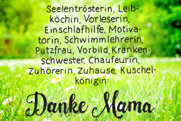 Spring Meadow, Daisy, Calligraphy Danke Mama Means Thanks Mom