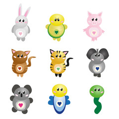 Set of cute illustrated animals