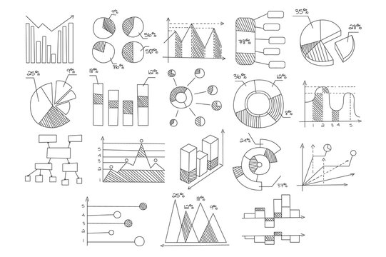 Set of various diagrams, graphs of growth and development with percents and schematic arrows. Hand drawn vector illustrations for company presentation. Business theme
