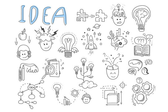 Idea icons set. Rocket, puzzles, rotating gears, open book, pens, human head, magnifying glass, calculations, lamp with wings and brains. Hand drawn vector illustration