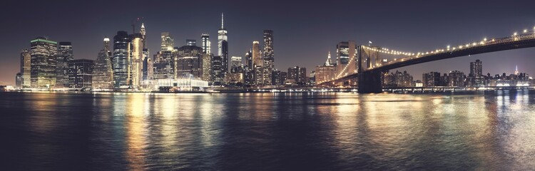 New York City iconic skyline, color toned high quality panorama, USA.