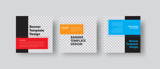 Wall Mural - Design of square vector web banners with place for photo and color rectangles for text.