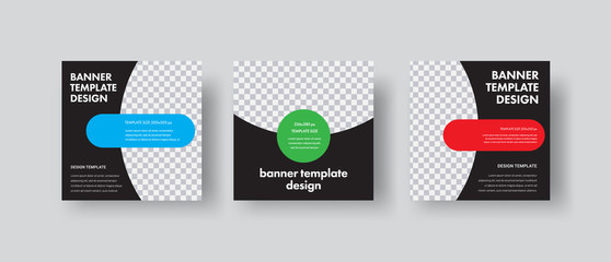 Wall Mural - Design of black square web banners with round and semicircular shapes for photos.