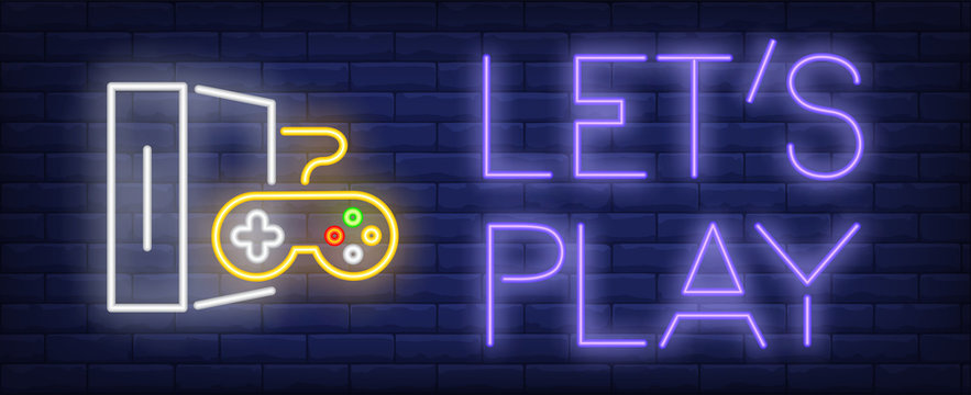 Lets play neon text and game console with controller