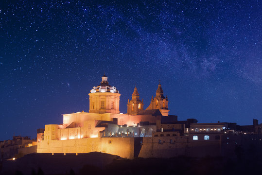 Mdina - ancient capital of Malta. Night view to St. Paul's Cathedral
