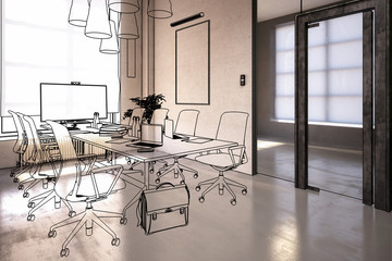 Office Design: Meeting Area (overview) - 3d illustration