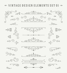 Vintage ornaments decorations vector design elements set.