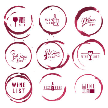 Wine logo set in red round ring stains