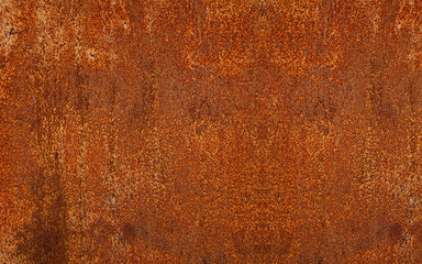 Panoramic rusty yellow-red textured metal surface. The texture of the metal sheet is prone to oxidation and corrosion. Textured background in grunge Style Wall mural