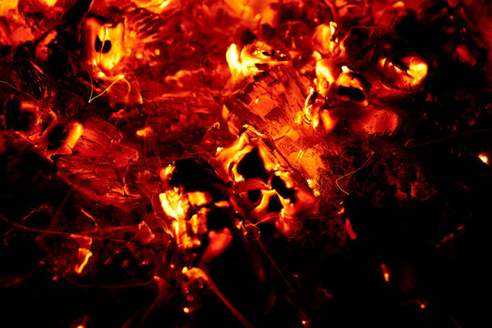 View of embers burning.